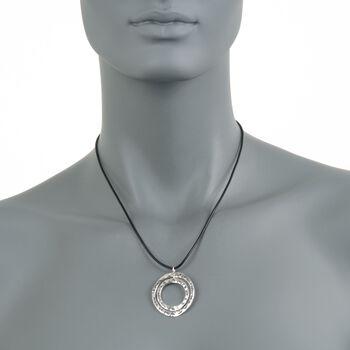 "Zina Sterling Silver ""Sahara"" Double Circle Pendant Necklace. 17"", , default"