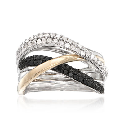 .50 ct. t.w. Black and White Diamond Highway Ring in Sterling Silver and 14kt Gold