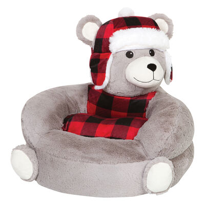 Children's Plush Buffalo Check Bear Chair, , default
