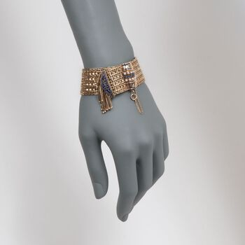 "C. 1970 Vintage Cultured Pearl and .45 ct. t.w. Sapphire Tassel Wide Bracelet in 14kt Yellow Gold. 7.5"", , default"