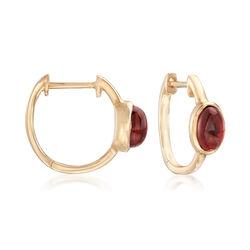 1.90 ct. t.w. Bezel-Set Garnet Hoop Earrings in 14kt Yellow Gold, , default