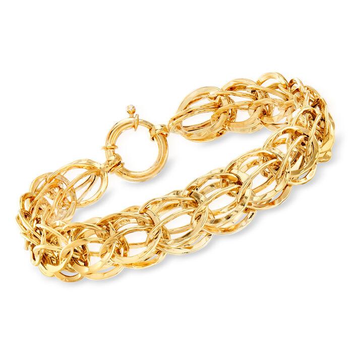 14kt Gold Over Sterling Silver Oval Link Bracelet