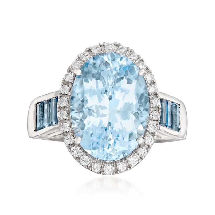 5.50 Carat Aquamarine, .90 ct. t.w. London Blue Topaz and .31 ct. t.w. Diamond Ring in 14kt White Gold