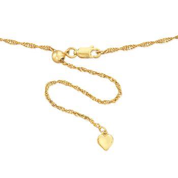 Italian 1.5mm 18kt Gold Over Sterling Adjustable Slider Singapore Chain Necklace , , default