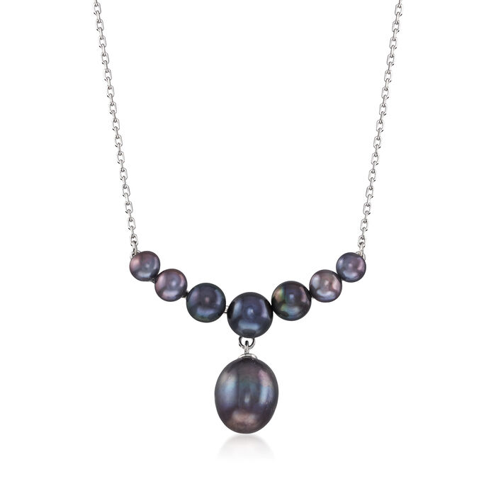 4-9.5mm Black Cultured Pearl Drop Necklace in Sterling Silver, , default