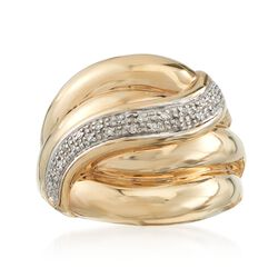 14kt Two-Tone Gold Sash Ring With Pave Diamond Accents, , default