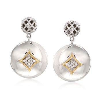 """Andrea Candela """"Rioja"""" .15 ct. t.w. Diamond Circle Drop Earrings in 18kt Gold and Sterling Silver, , default"""