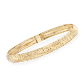 14kt Yellow Gold Textured Bangle Bracelet, , default