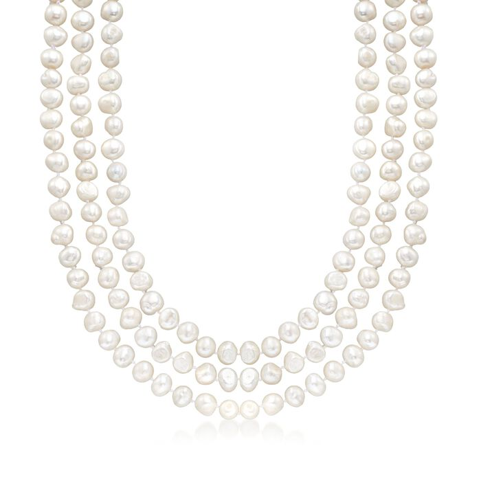 9-10mm Cultured Semi-Baroque Pearl Endless Necklace