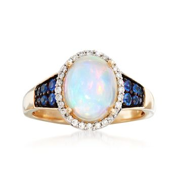 Ethiopian Opal and .23 ct. t.w. Sapphire Ring With .14 ct. t.w. Diamonds in 14kt Yellow Gold, , default