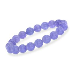 10mm Lavender Jade Bead Stretch Bracelet, , default