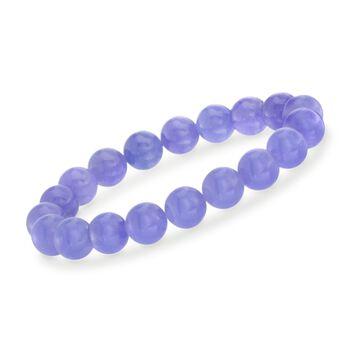 10mm Lavender Jade Bead Stretch Bracelet, , default