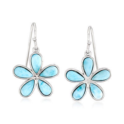 Larimar Daisy Flower Drop Earrings in Sterling Silver, , default