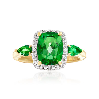 2.46 ct. t.w. Green and White Swarovski Topaz Ring in Sterling Silver and 18kt Gold Over Sterling