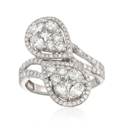 2.29 ct. t.w. Multi-Cut Diamond Infinity Bypass Ring in 18kt White Gold, , default