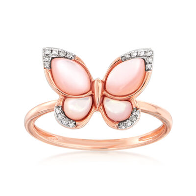 Pink Mother-Of-Pearl Butterfly Ring with Diamond Accents in 14kt Rose Gold, , default