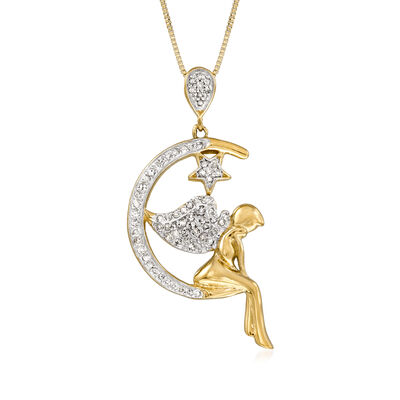 .20 ct. t.w. Diamond Angel Moon Pendant Necklace in 18kt Gold Over Sterling