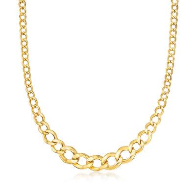 14kt Yellow Gold Graduated Link Necklace  , , default