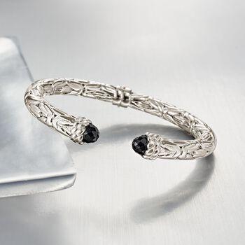 """Italian Black Onyx Byzantine Cuff Bracelet in Sterling Silver. 7"""", , default"""
