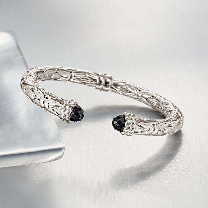 Italian Black Onyx Byzantine Cuff Bracelet in Sterling Silver