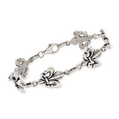 Italian Oxidized  Sterling Silver Fleur-De-Lis Bracelet, , default