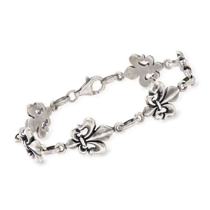 Italian Oxidized  Sterling Silver Fleur-De-Lis Bracelet