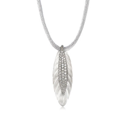 C. 1990 Vintage 22.00 Carat Rock Crystal Quartz and .44 ct. t.w. Diamond Necklace in 18kt White Gold with Silk Cord, , default
