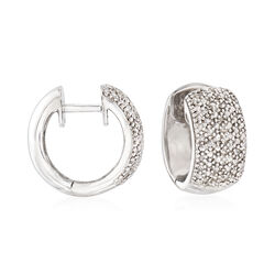 "Diamond Accent Huggie Hoop Earrings in Sterling Silver. 3/8"", , default"