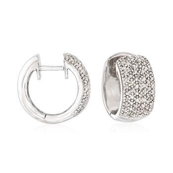 """Diamond Accent Huggie Hoop Earrings in Sterling Silver. 3/8"""", , default"""