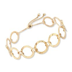 18kt Gold Over Sterling Silver Crimped Circle-Link Bolo Bracelet, , default