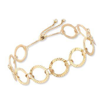 18kt Gold Over Sterling Silver Crimped Circle-Link Bolo Bracelet, , default