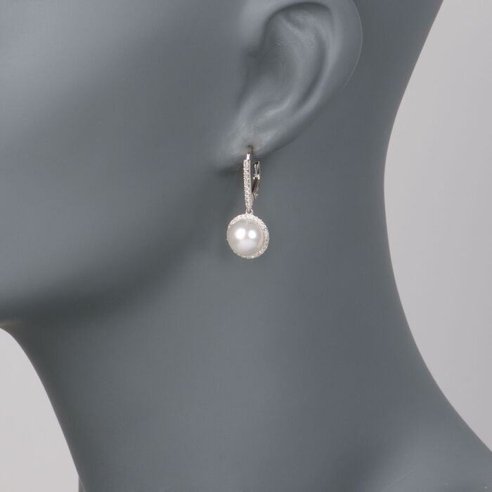 9mm Cultured Pearl and .40 ct. t.w. Diamond Earrings in 14kt White Gold