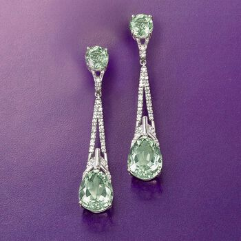 7.90 ct. t.w. Green Amethyst and .19 ct. t.w. Diamond Drop Earrings in Sterling Silver, , default