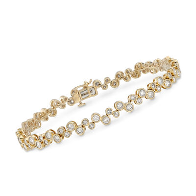 3.00 ct. t.w. Bezel-Set Diamond Bubble Bracelet in 14kt Yellow Gold, , default