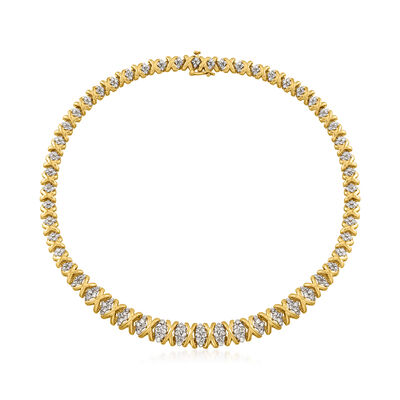 C. 1980 Vintage 6.00 ct. t.w. Diamond X-Shape Necklace in 14kt Yellow Gold