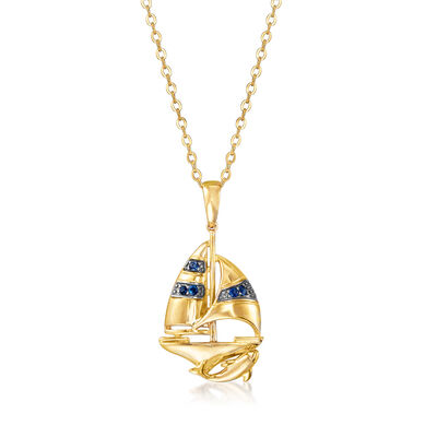 .10 ct. t.w. Sapphire Sailboat Pendant Necklace in 18kt Gold Over Sterling