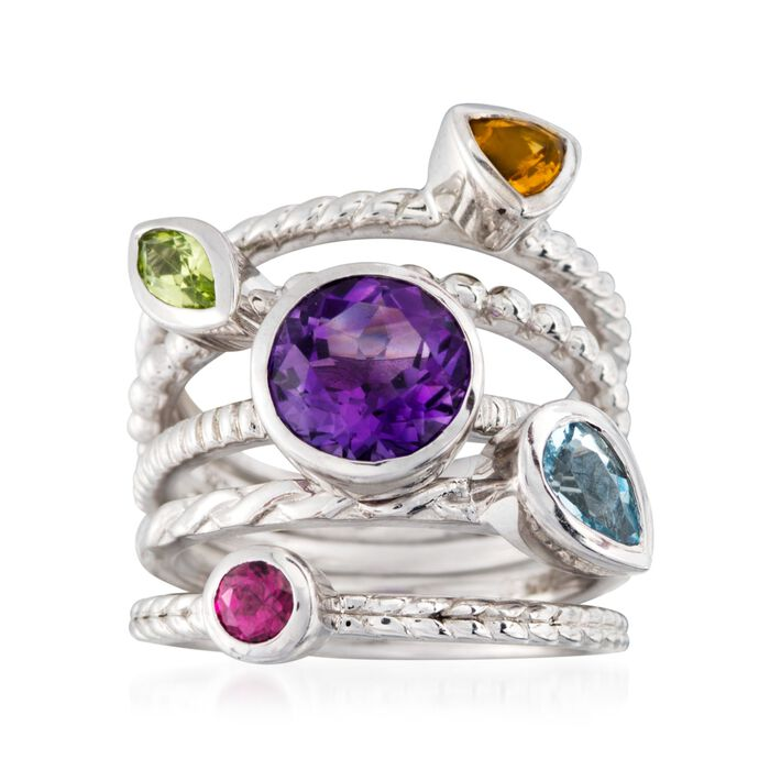 2.30 ct. t.w. Multi-Stone Jewlery Set: Five Rings in Sterling Silver. Size 5, , default