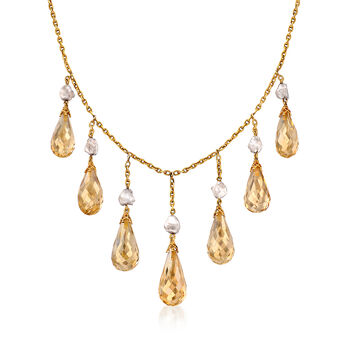 """C. 1960 Vintage 28.00 ct. t.w. Briolette Citrine and 7mm Gray Cultured Baroque Pearl Necklace in 14kt Yellow Gold. 14.5"""", , default"""