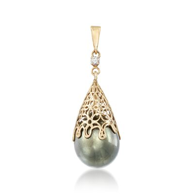 11-12mm Black Cultured Tahitian Pearl Pendant with Diamond Accent in 14kt Yellow Gold, , default
