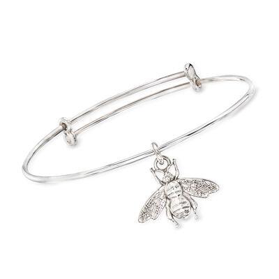 Italian Sterling Silver Bee Charm Bracelet, , default