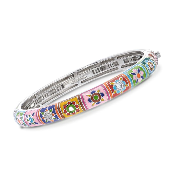 "Belle Etoile ""Constellations: Bavaria"" Multicolored Enamel and .25 ct. t.w. CZ Bangle Bracelet in Sterling Silver. 7"""