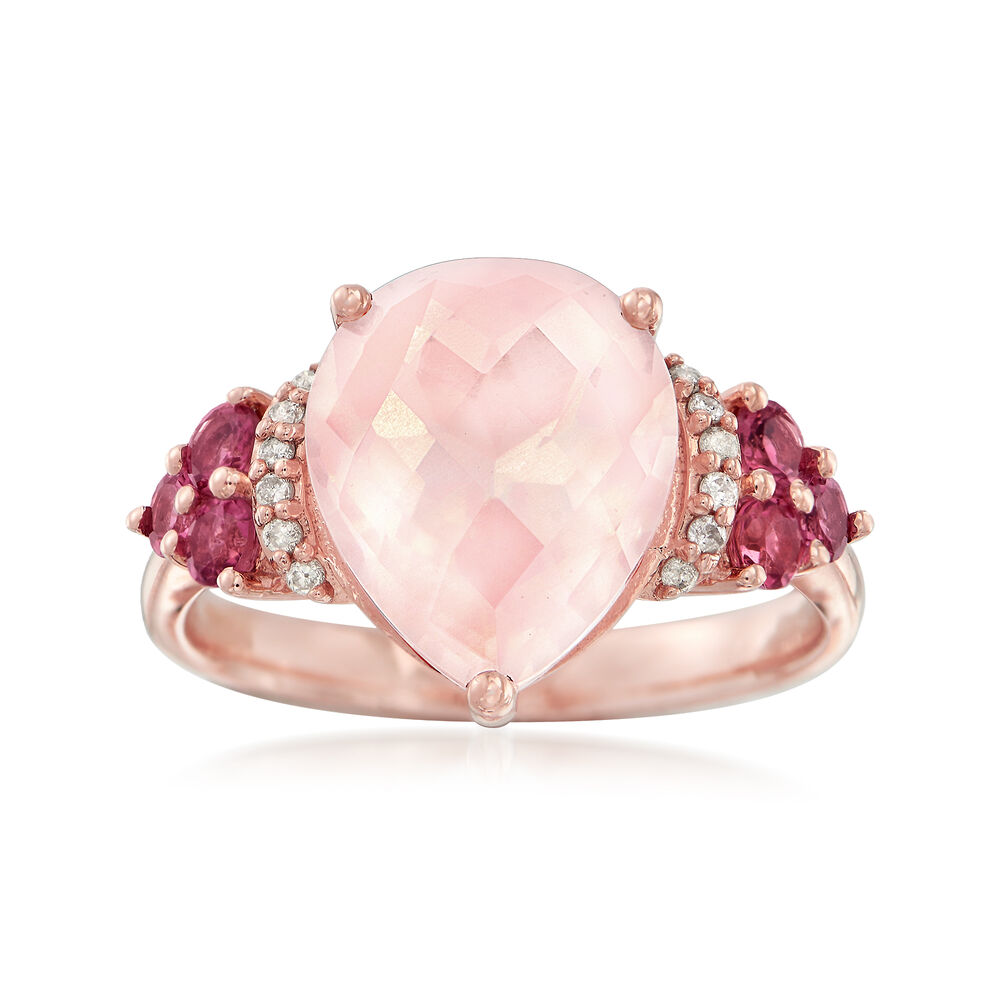 4.80 Carat Rose Quartz and .40 ct. t.w. Pink Tourmaline Ring With ...