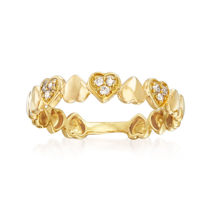 14kt Yellow Gold Heart Ring with Diamond Accents, , default