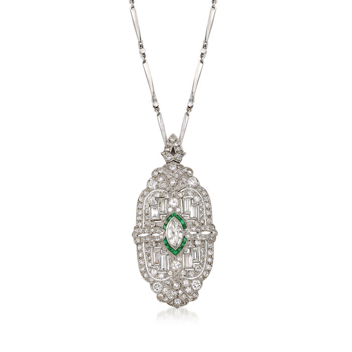 "C. 1950 Vintage 4.55 ct. t.w. Diamond and .35 ct. t.w. Emerald Pin Pendant Necklace in Platinum. 21"", , default"
