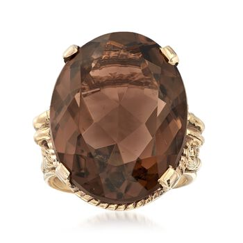C. 1960 Vintage 17.85 Carat Smoky Quartz Ring in 10kt Yellow Gold. Size 4.5, , default