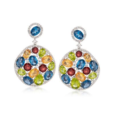 37.20 ct. t.w. Multi-Gemstone Drop Earrings in Sterling Silver, , default