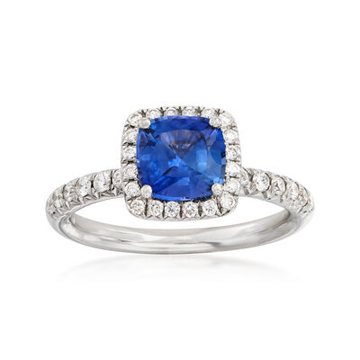 C. 1990 Vintage 1.45 Carat Sapphire and .55 ct. t.w. Diamond Ring in 18kt White Gold, , default