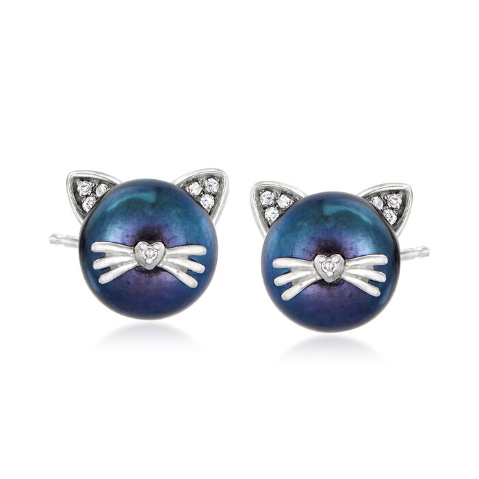 8-8.5mm Black Cultured Pearl Cat Earrings with Diamond Accents in Sterling Silver