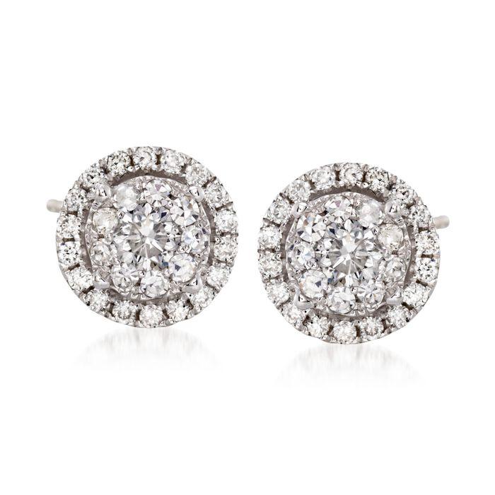 1.00 ct. t.w. Diamond Halo Stud Earrings in 14kt White Gold
