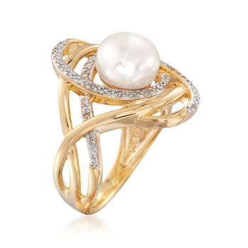 8-8.5mm Cultured Pearl and .10 ct. t.w. Diamond Swirl Ring in 18kt Gold Over Sterling